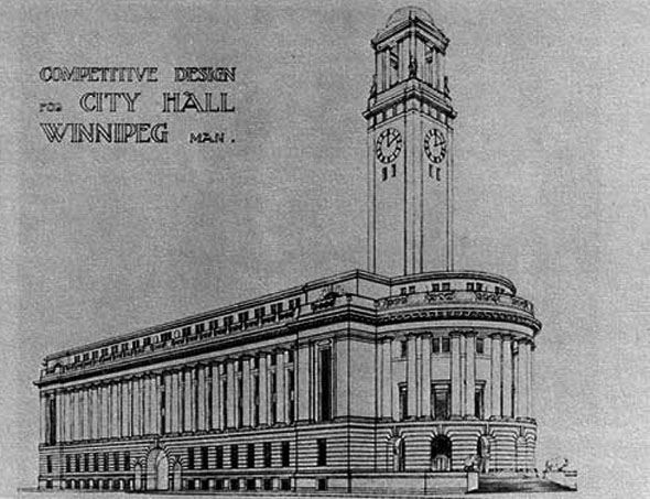 1913 – Unbuilt Design for City Hall, Winnipeg