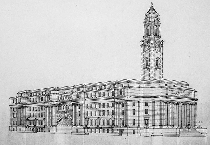 1913 – Second Placed Entry for City Hall, Winnipeg