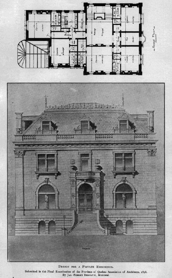 1896 &#8211; Design for a private residence, Quebec