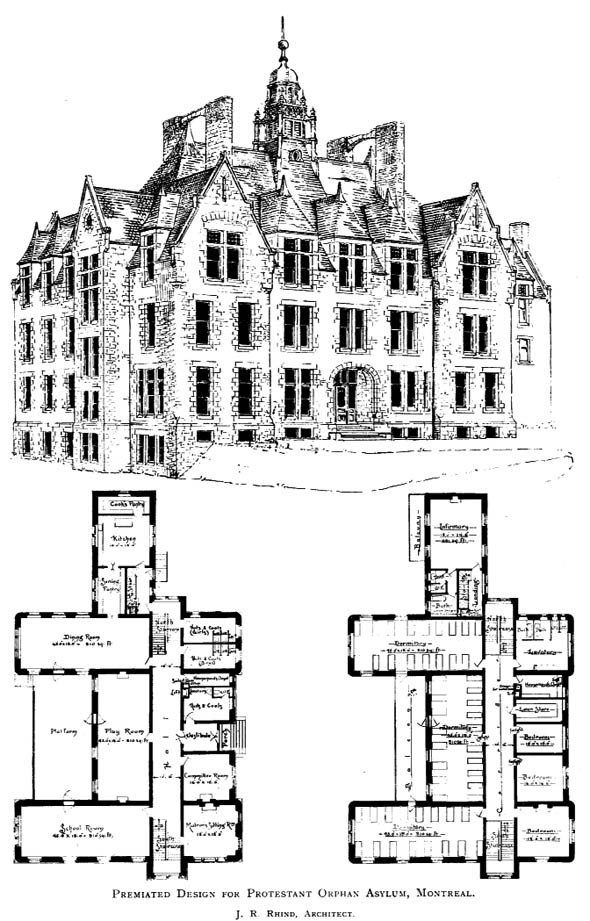 1894 &#8211; Design for Protestant Orphanage, Montreal, Quebec