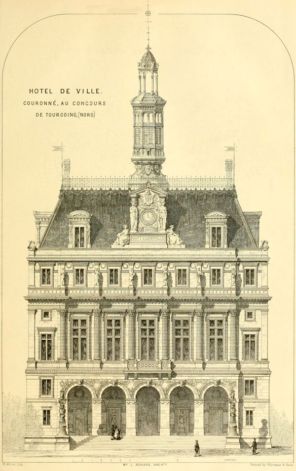 1863 – Design for Hotel de Ville, Tourcoing, Nord, France