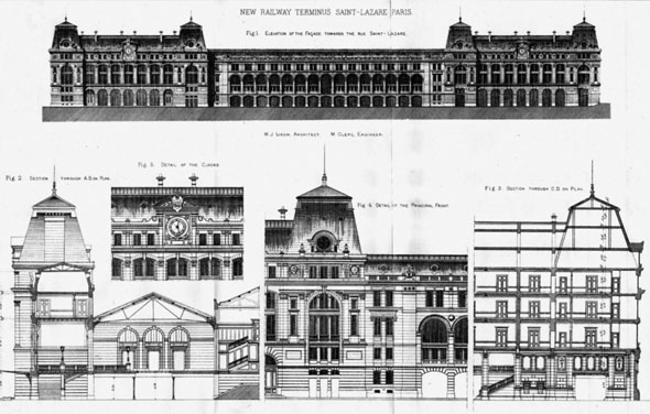 1888 &#8211; New Railway Terminus, St. Lazare, Paris