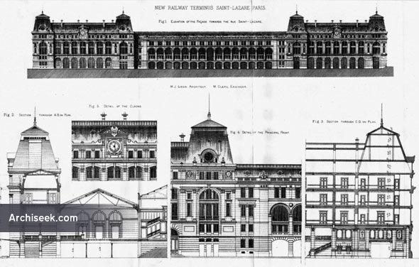 1888 – New Railway Terminus, St. Lazare, Paris