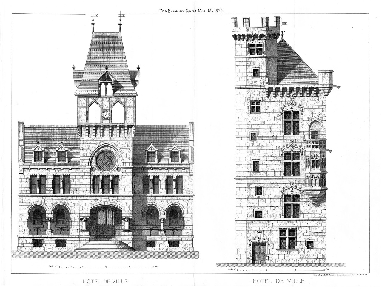 1874 – Design for a townhall, Paris, France