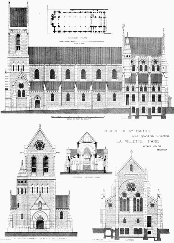 1876 – Design for Church of St. Marthe, La Villette, Paris