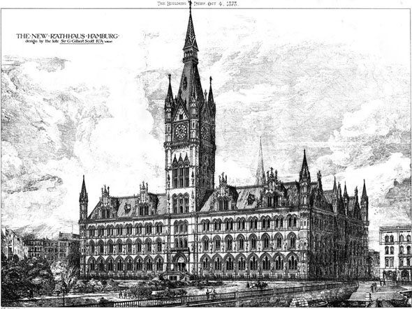 1878 &#8211; Design for Rathaus Hamburg, Germany