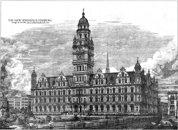 1878 – Design for Rathaus Hamburg, Germany