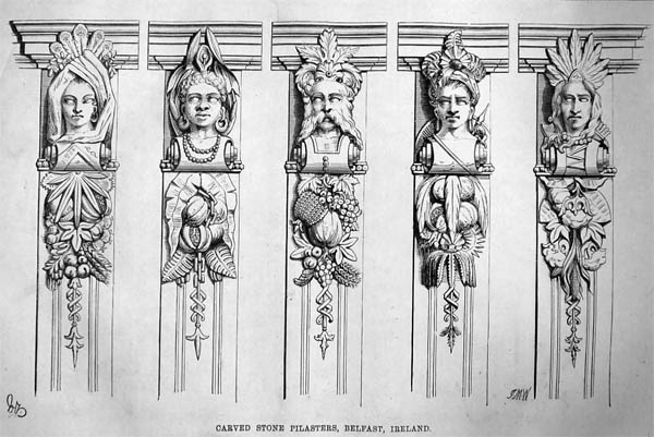 1871 – Carved Stone Pilasters, Belfast