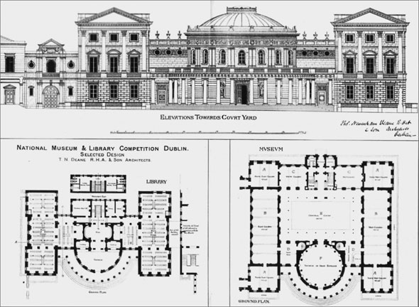 1883 – Unexecuted design for National Museum & Library, Dublin