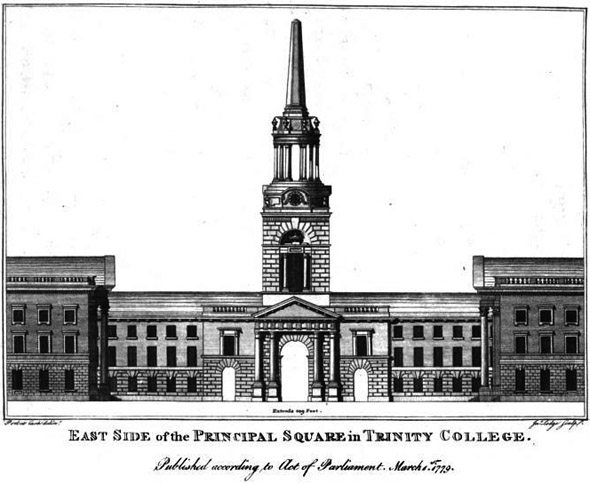 1790 &#8211; Central Range and Campanile, Trinity College Dublin