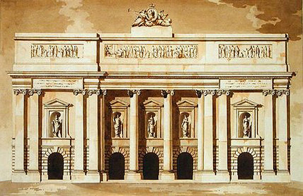 1787c &#8211; Unbuilt West Elevation of Houses of Parliament, Dublin