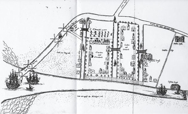 1674 – Yarranton proposal for canals and harbour, Ringsend
