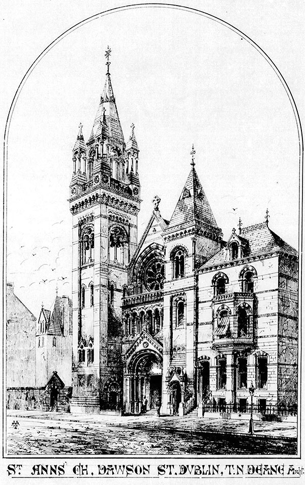1868 – Design for St. Ann's Church of Ireland, Dawson Street, Dublin