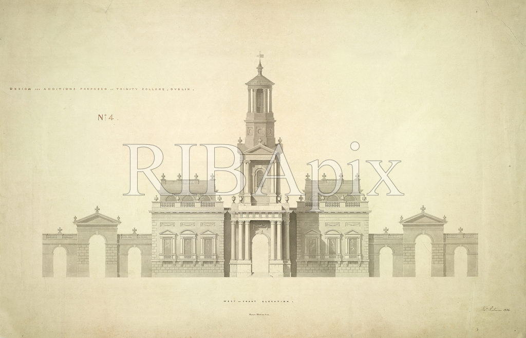 1834 – Design for Museum & Campanile, Trinity College Dublin