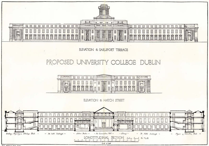 1912 – Proposal for University College Dublin, Earlsfort Terrace, Dublin
