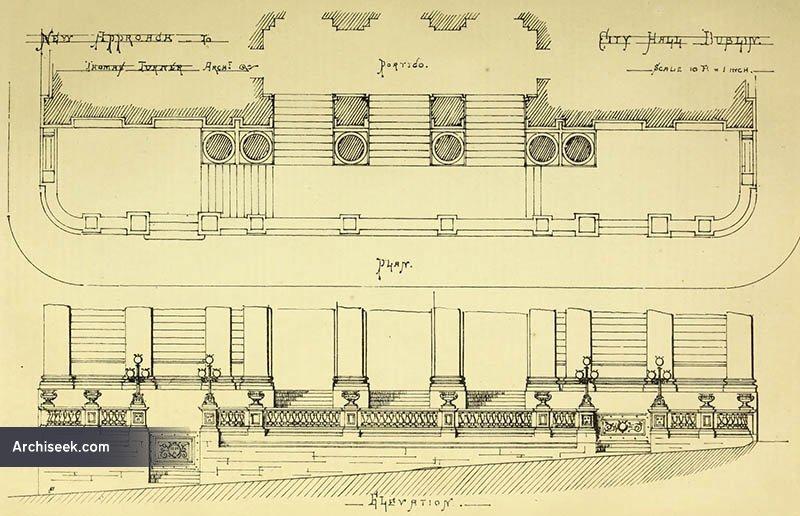 1866 – Design for steps, City Hall, Dublin