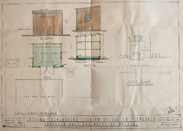 1932 &#8211; Designs for a Customs Hut, Belcoo, Co. Fermanagh