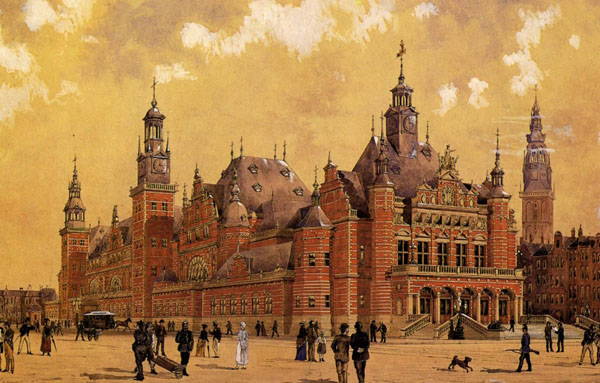 1885 – Unbuilt designs for Commodity Exchange, Amsterdam, The Netherlands