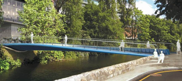 Ballsbridge-Dodder Pedestrian Bridge Competition won by Alan Dempsey