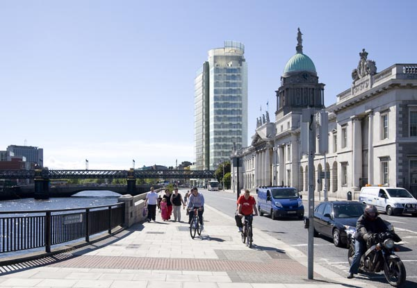 View of the proposed new Liberty Hall Building from Custom House Quay in Dublin