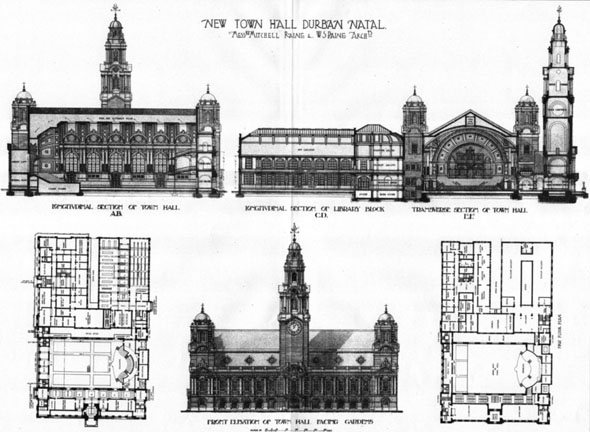1906 &#8211; Design for New Town Hall, Durban, South Africa