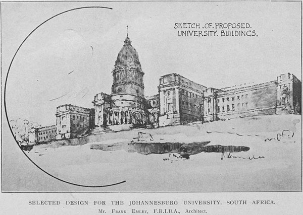 1920 – Selected Design for Witwatersrand University, Johannesburg, South Africa