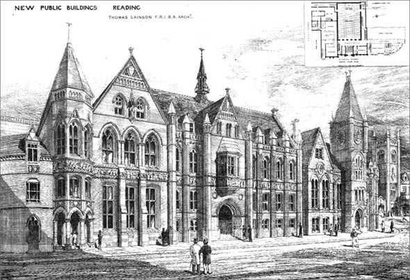 1880 &#8211; New Public Buildings, Reading, Berkshire