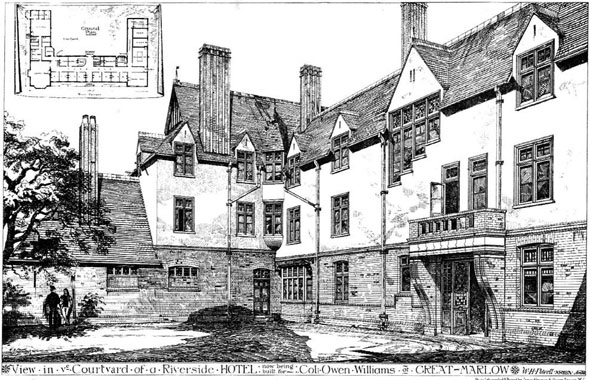 1878 – Courtyard of a Riverside Hotel, Great Marlow, Buckinghamshire