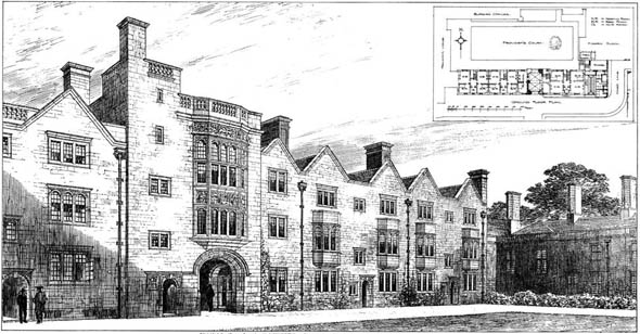 1908 &#8211; New Buildings, Provost&#8217;s Court, King&#8217;s College, Cambridge, Cambridgeshire