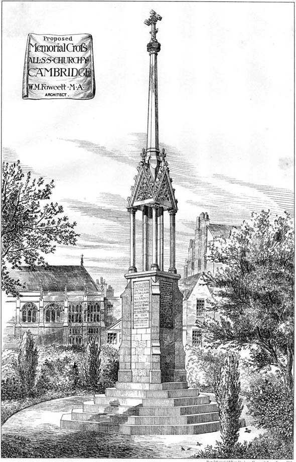 1878 – Proposed Memorial Cross, All Saints Church, Cambridge, Cambridgeshire