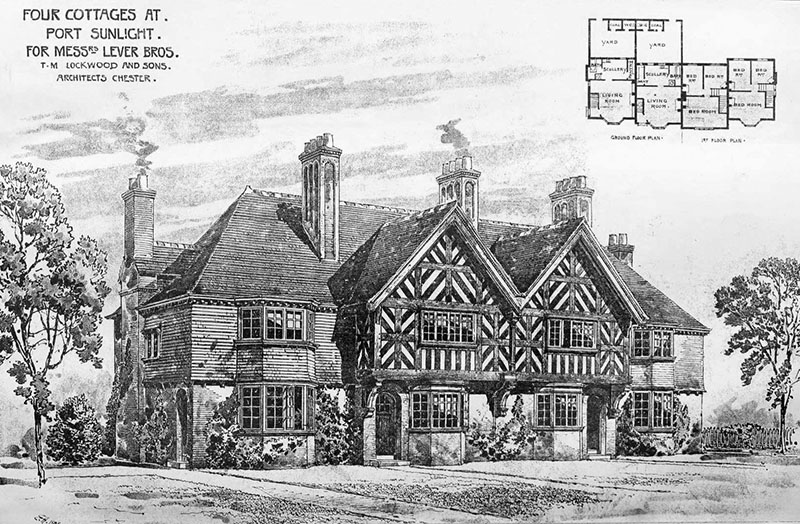 1899 &#8211; Four Cottages, Port Sunlight, Cheshire