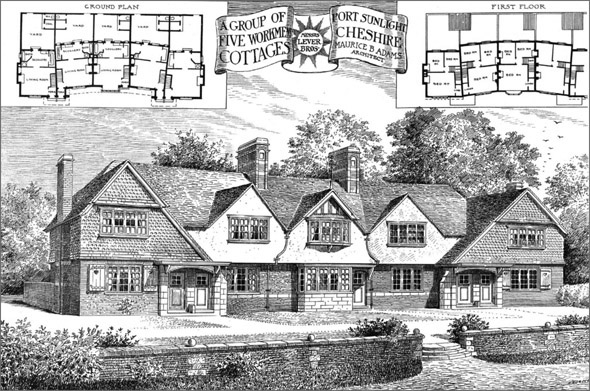 1899 &#8211; Group of 5 Workmans Cottages, Port Sunlight, Cheshire