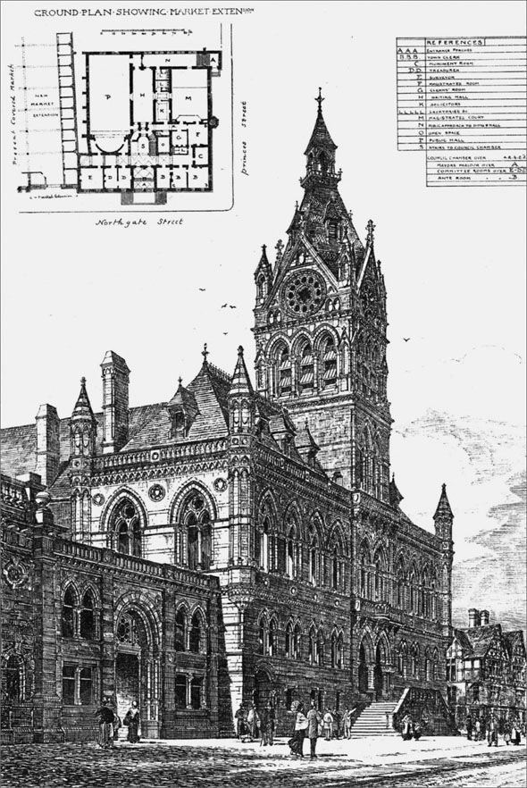 1881 – Municipal Buildings & New Market Extension, Chester, Cheshire