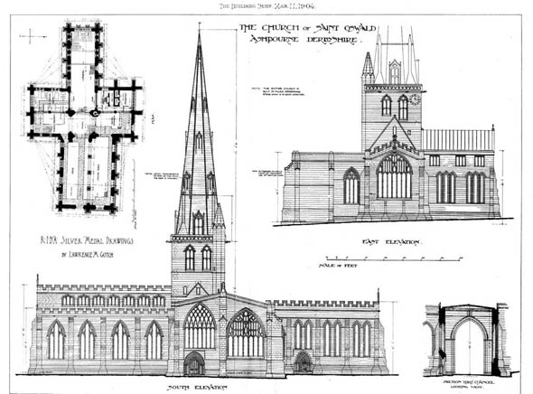 1904 – The Church of  St.Oswald's, Ashbourne, Derbyshire