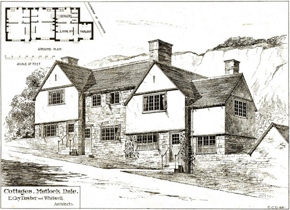 1899 &#8211; Cottages, Matlock Dale, Derbyshire