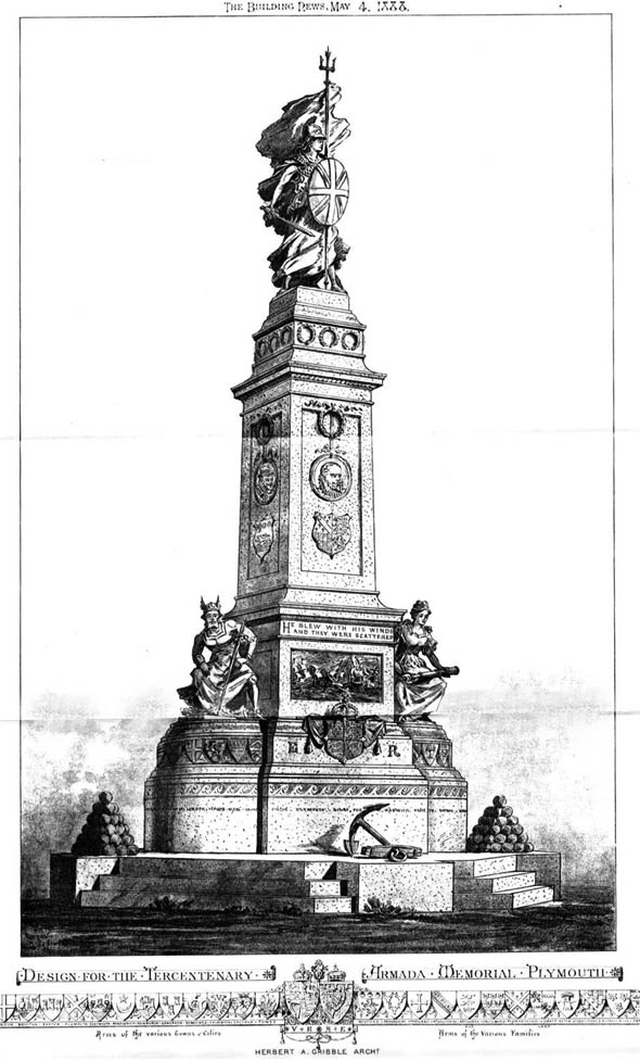 1888 – Design for The Armada Memorial, Plymouth, Devon