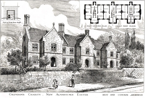 1883 &#8211; New Almshouses for Grendon&#8217;s Charity, Exeter, Devon