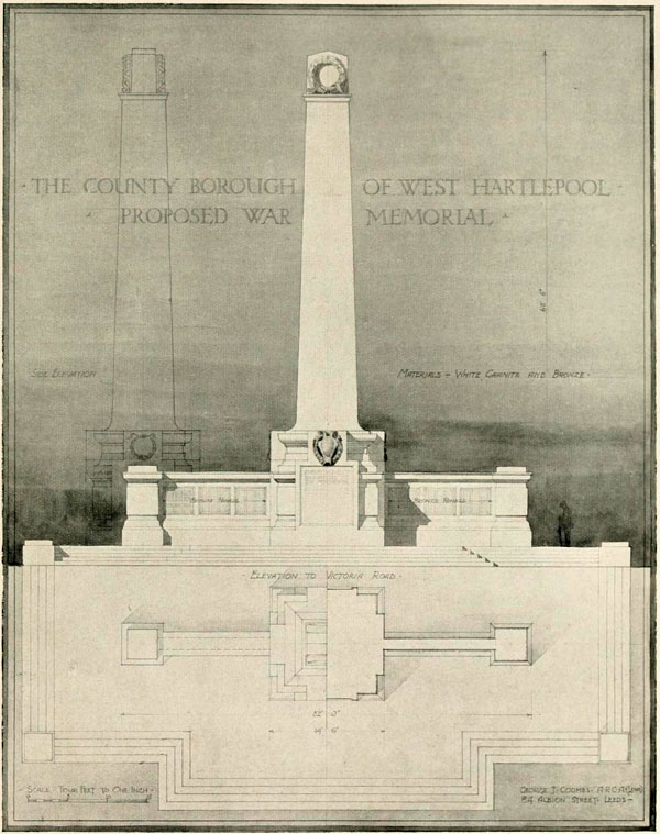 1920 – Selected design for West Hartlepool War Memorial, Durham
