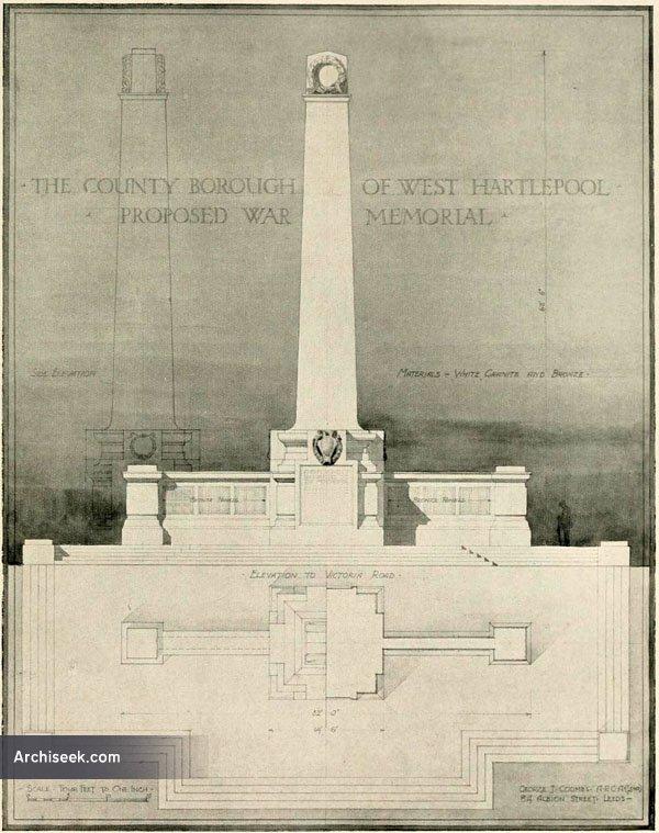 1920 – Selected design for West Hartlepool War Memorial, Durham