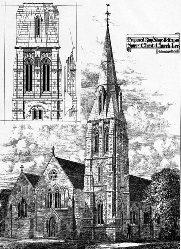 1875 &#8211; Proposed Belfrey &#038; Spire, Christ Church, Lee, Essex
