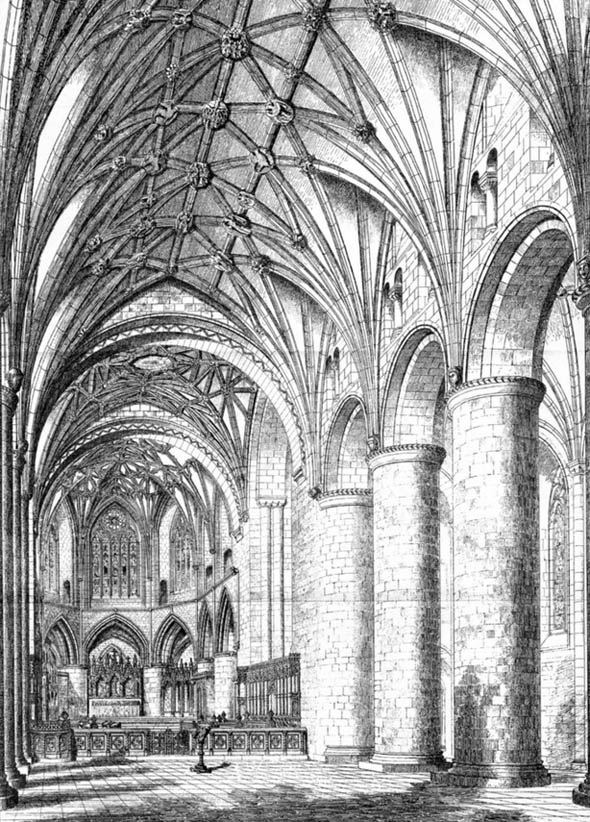 1877 &#8211; Proposed arrangement of interior, Tewkesbury Abbey, Gloucestershire