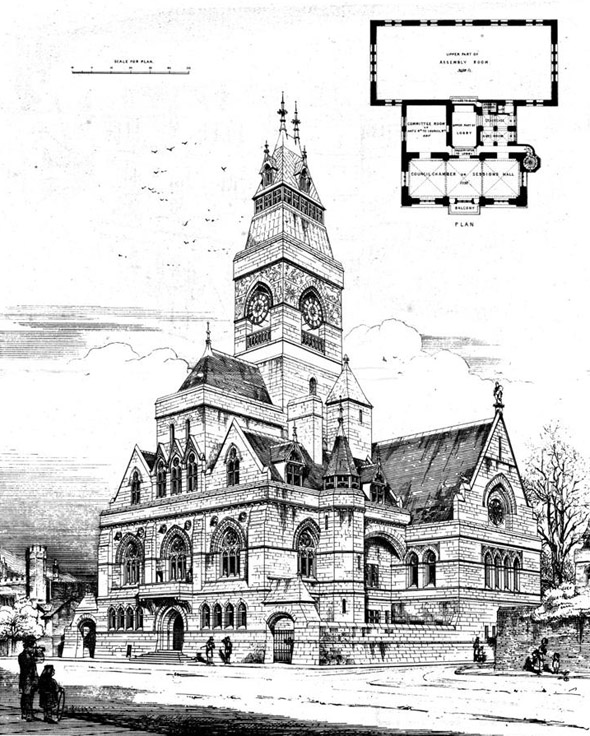 1871 – Design for Winchester Town Hall, Hampshire