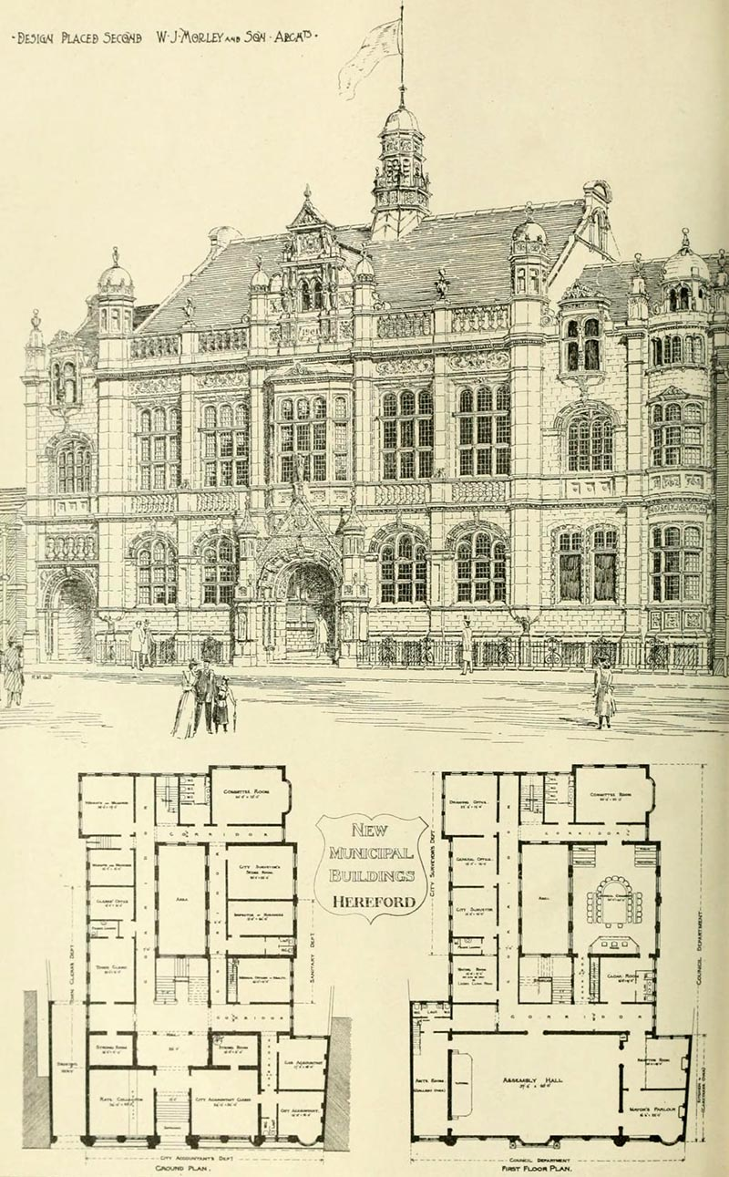 1901 – Second placed design for Hereford Municipal Buildings