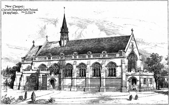 1906 &#8211; New Chapel, Christs Hospital Girls School, Hertfordshire