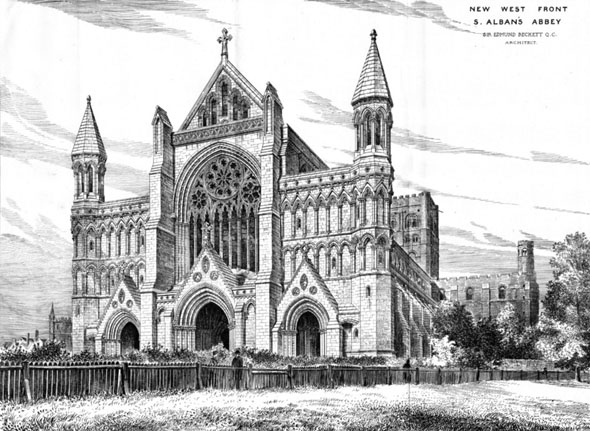 1885 &#8211; New West Front, St. Alban&#8217;s Abbey, Hertfordshire