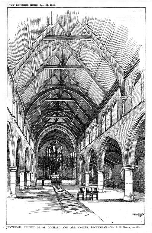1905 &#8211; Interior, Church of St. Michaels &#038; All Angels, Beckenham, Kent