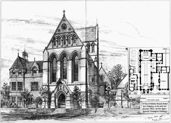 1881 &#8211; Proposed Roman Catholic Church, School &#038; Presbytery, Bromley, Kent
