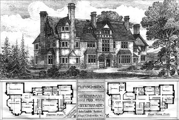 1886 &#8211; Proposed Houses at Beckenham Place Park, Beckenham, Kent
