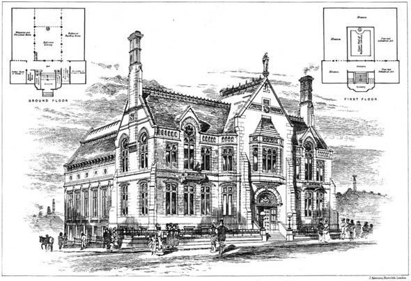 1881 – Proposed Free Library & Museum, Oldham, Lancashire