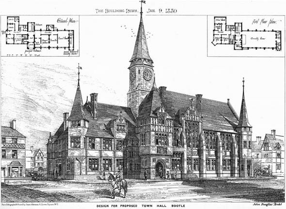 1880 &#8211; Design for Proposed Town Hall, Bootle, Lancashire